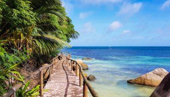piękna plaża z niebieską wodą i skałami